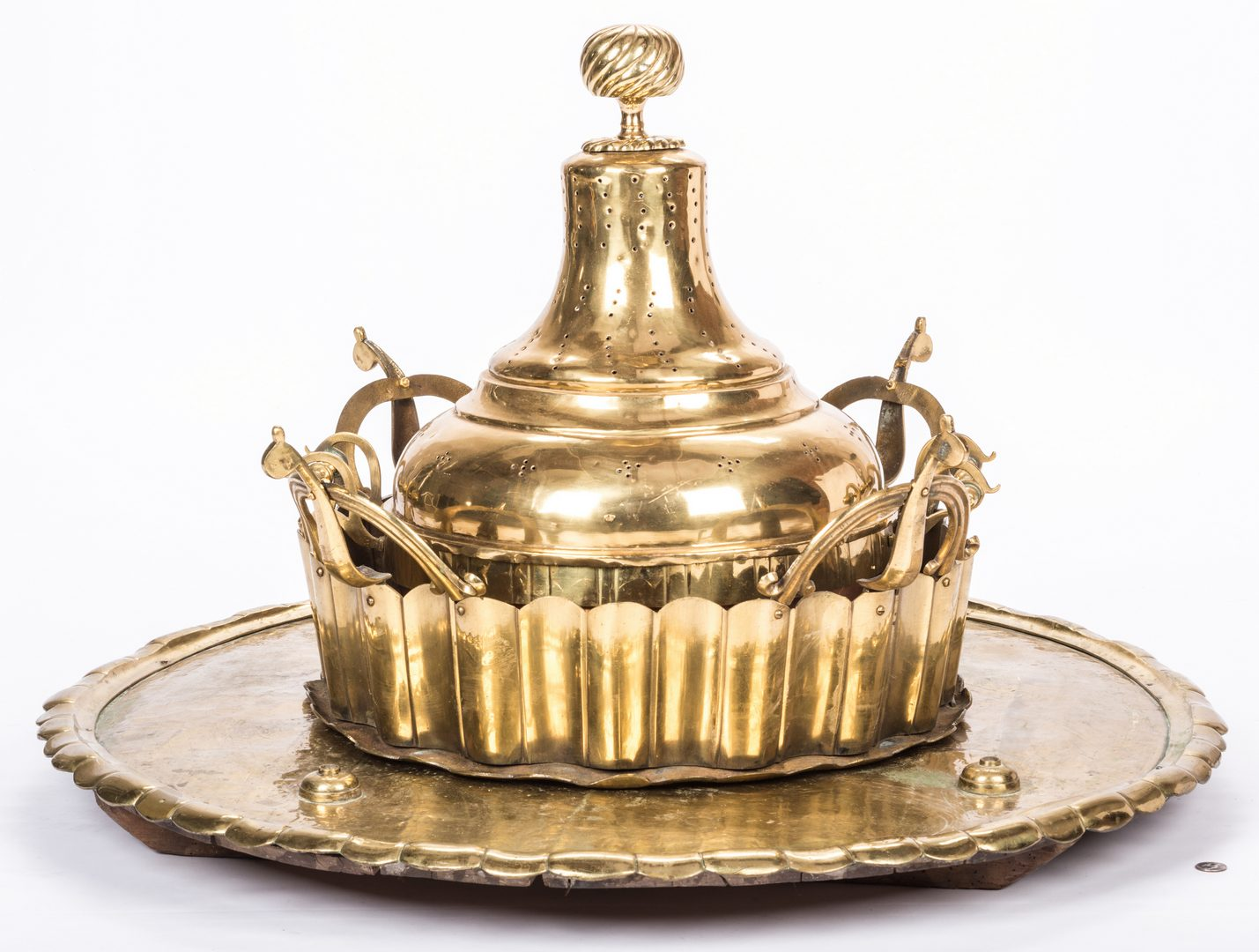 Lot 766: Large Brass Brazier or Censer with tray, 4 pcs.