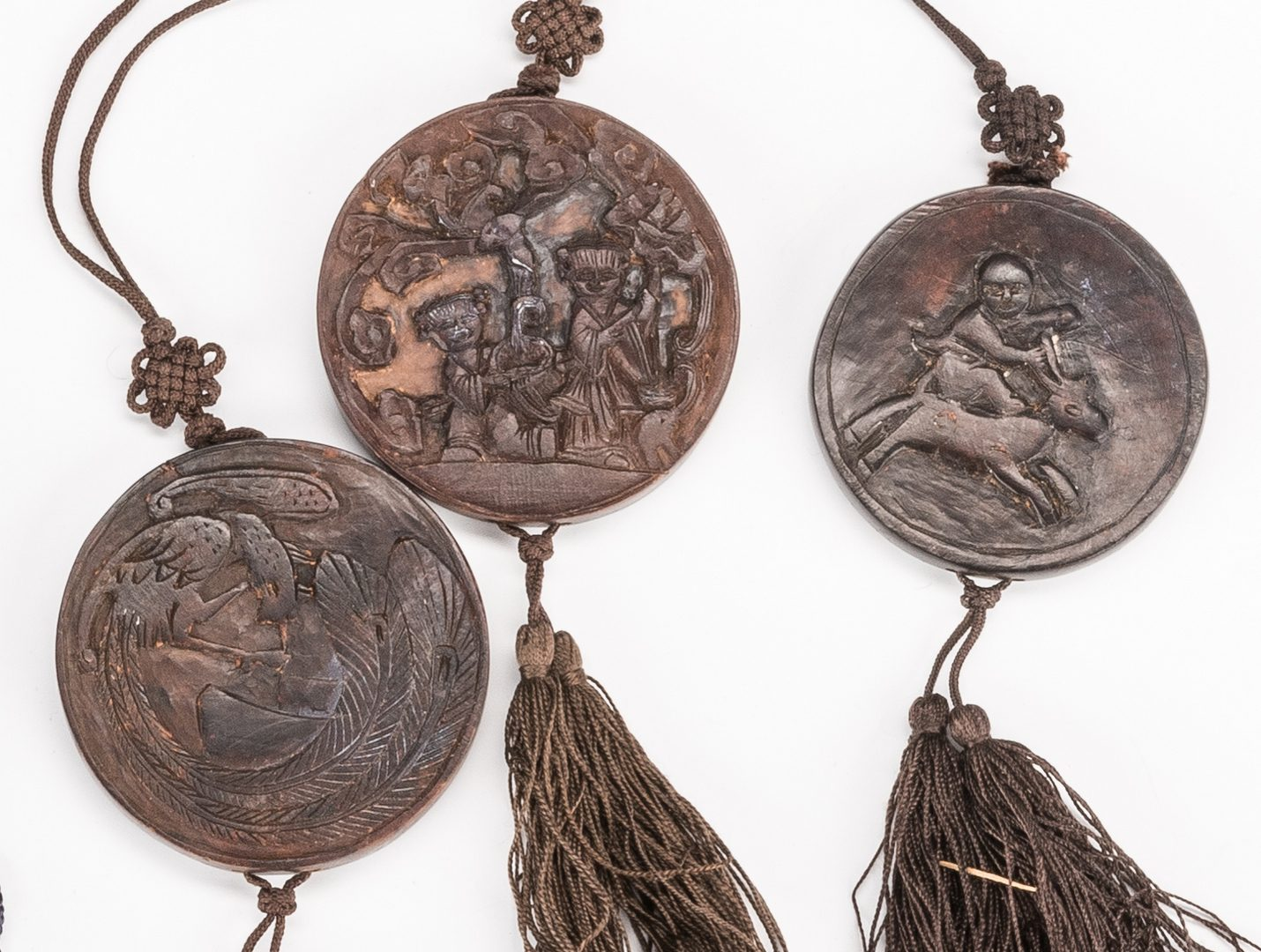 Lot 767: 14 Asian items, inc. Shoes, Clothing Items, Wooden Pendants