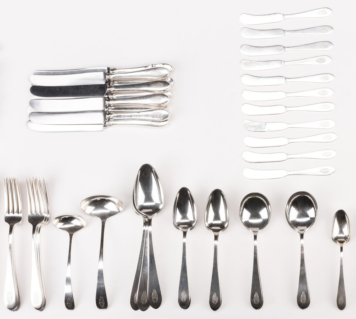 Lot 76: 112 Gorham Sterling Flatware, inc. Plain & Covington, 113 Pcs.