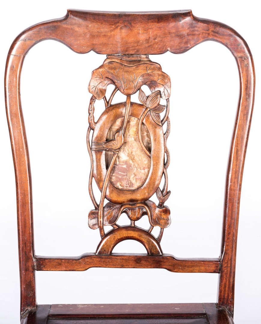 Lot 770: 4 Chinese chairs inset with carved hardstone