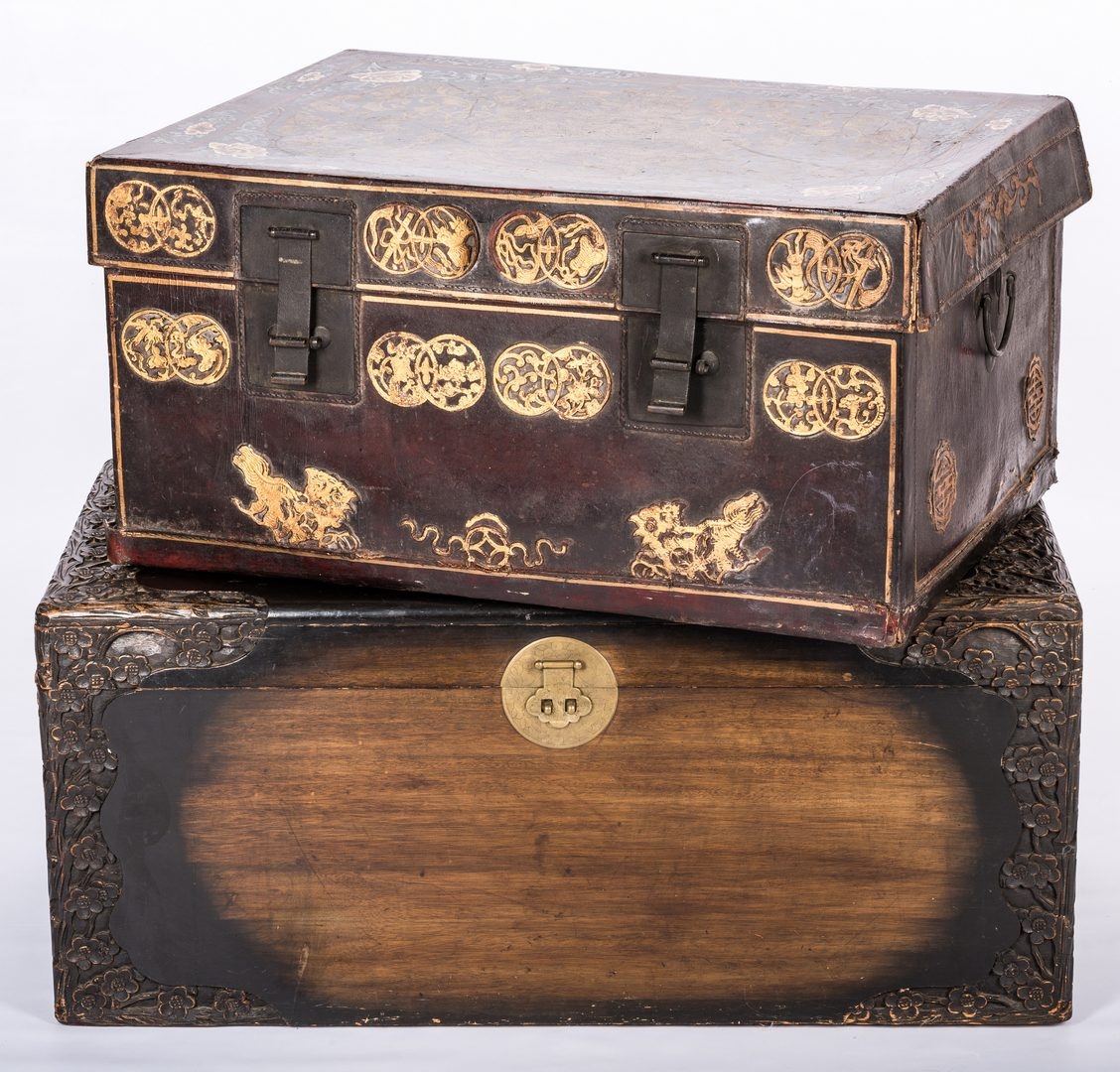 Lot 771: 2 Chinese Trunks, Leather & Wood
