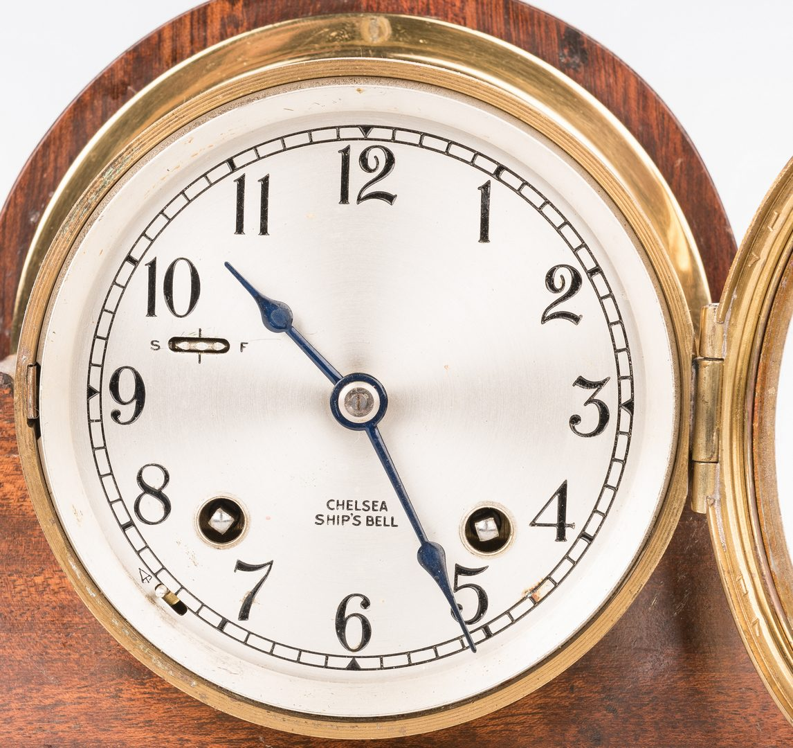 Lot 778: Seth Thomas Chronometer and Chelsea Ship Bell Clock, 2 items