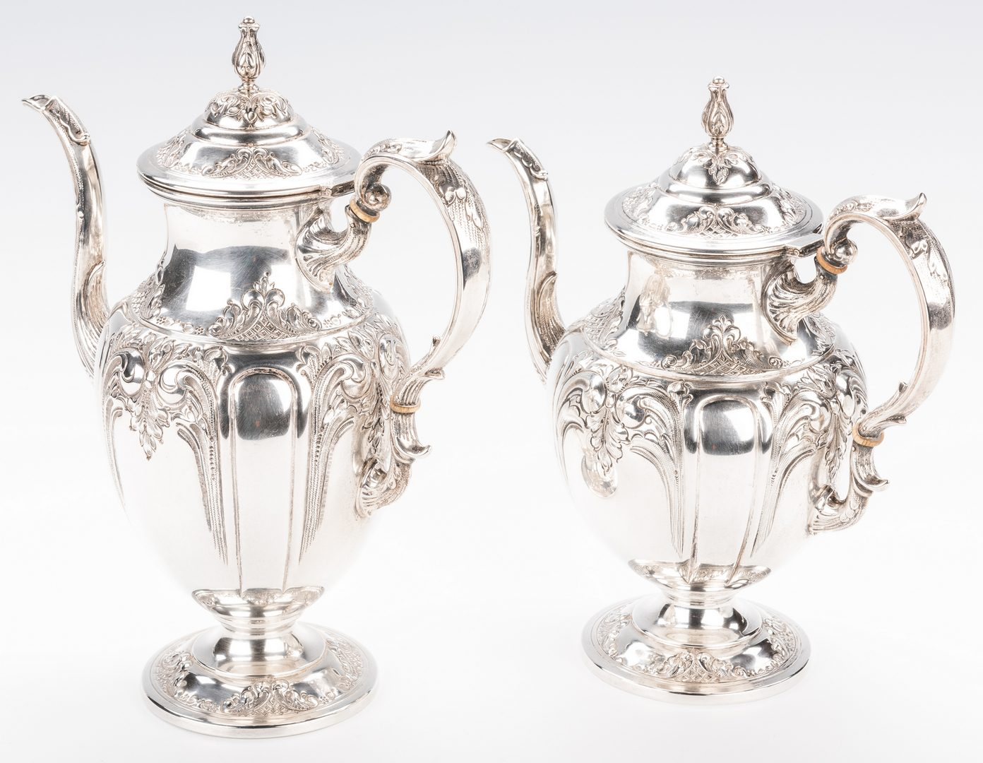 Lot 77: Fisher Victoria 5-piece Sterling Tea Set with tray