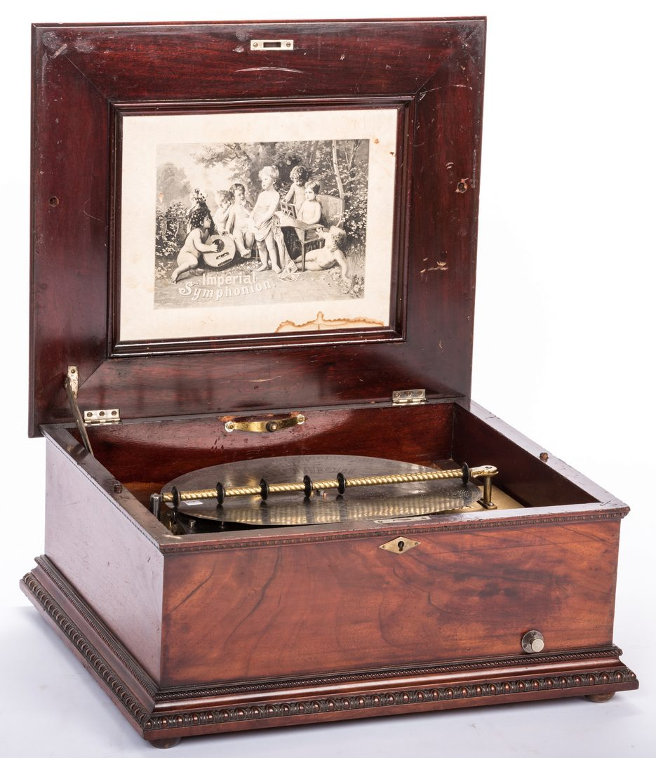 Lot 782: Imperial Symphonion Music Box w/ Stand & 42 Disks