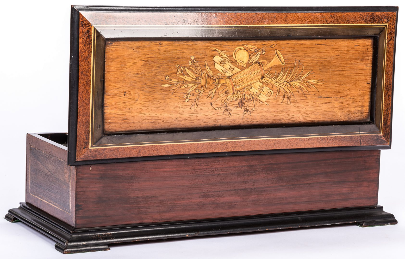 Lot 784: Swiss Cylinder Music Box w/ Marquetry Inlay