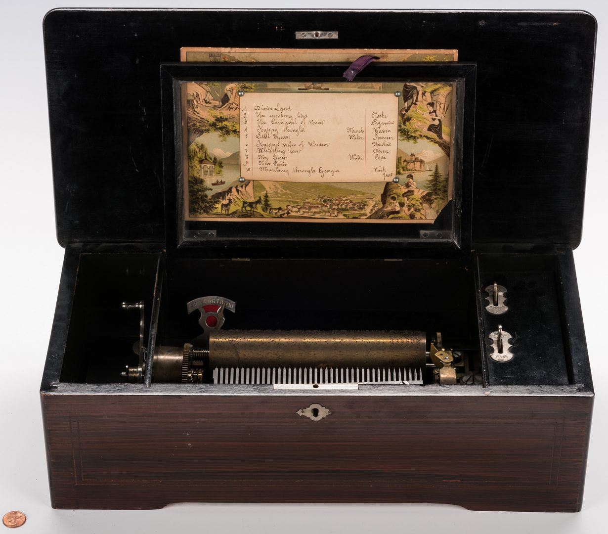 Lot 791: Jules Cuendet Cylinder Music Box w/ Southern Tunes