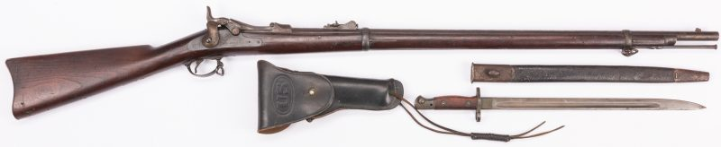 Lot 794: Springfield Model 1873 rifle, bayonet, & holster, 3 items