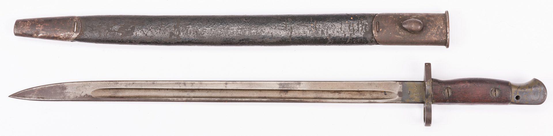 Lot 794: Springfield Model 1873 rifle, bayonet, & holster, 3 items