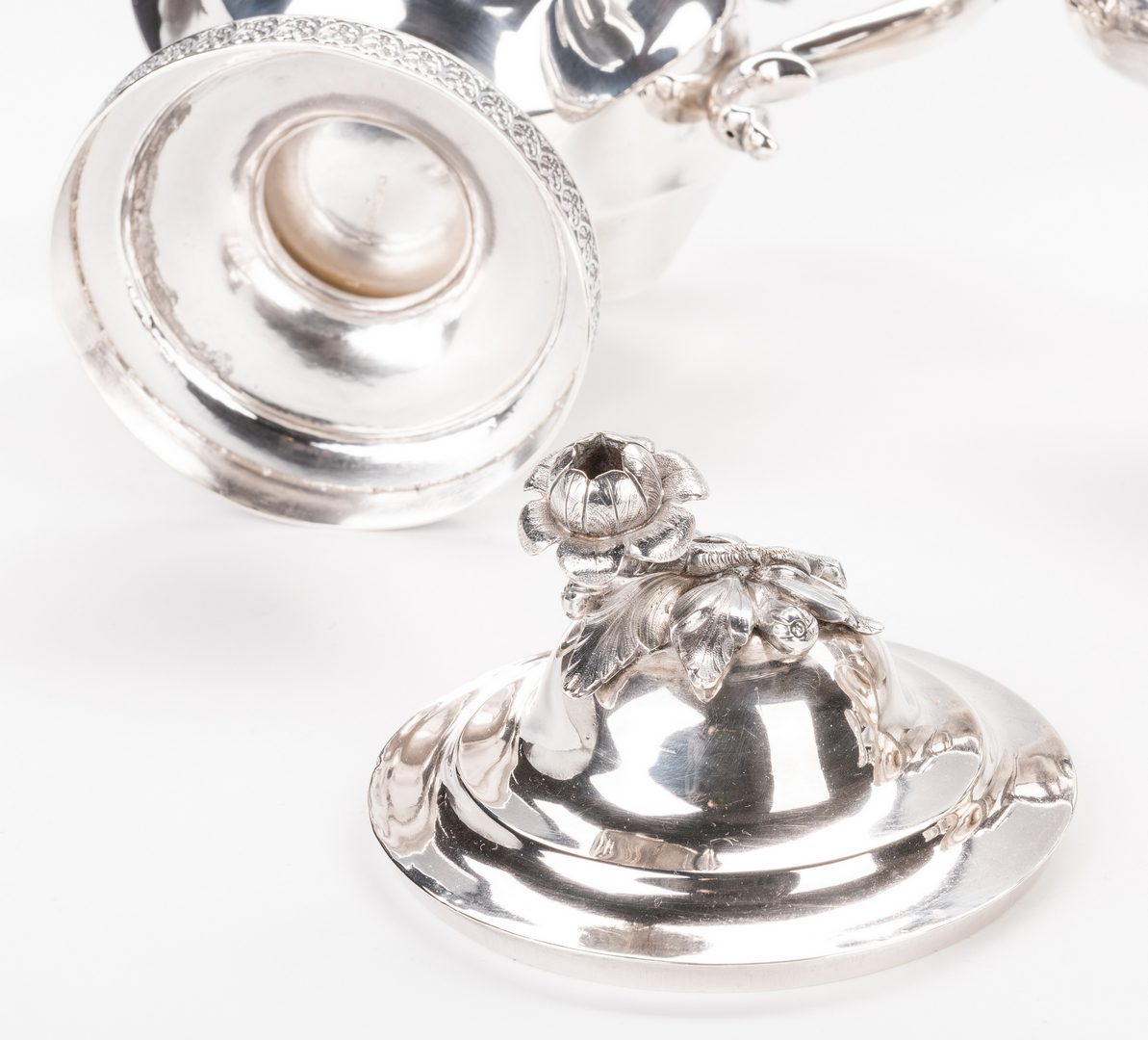 Lot 79: Bogert 3 pc coin silver tea service