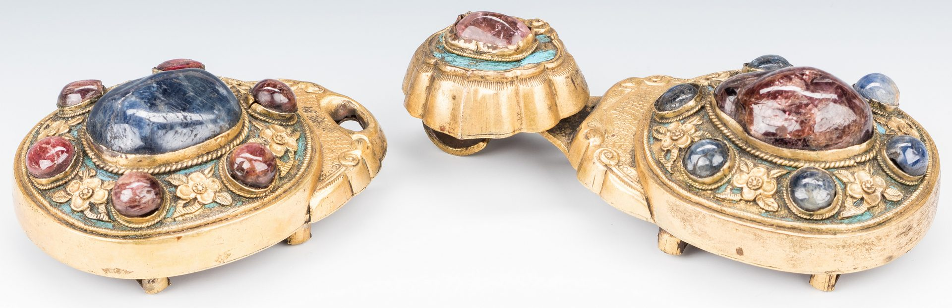 Lot 7: 2 Chinese Gilt Bronze & Hardstone Belt Buckles