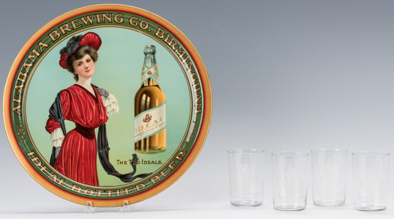 Lot 804: Alabama Brewing Co. Advertising Tray & 4 Glasses