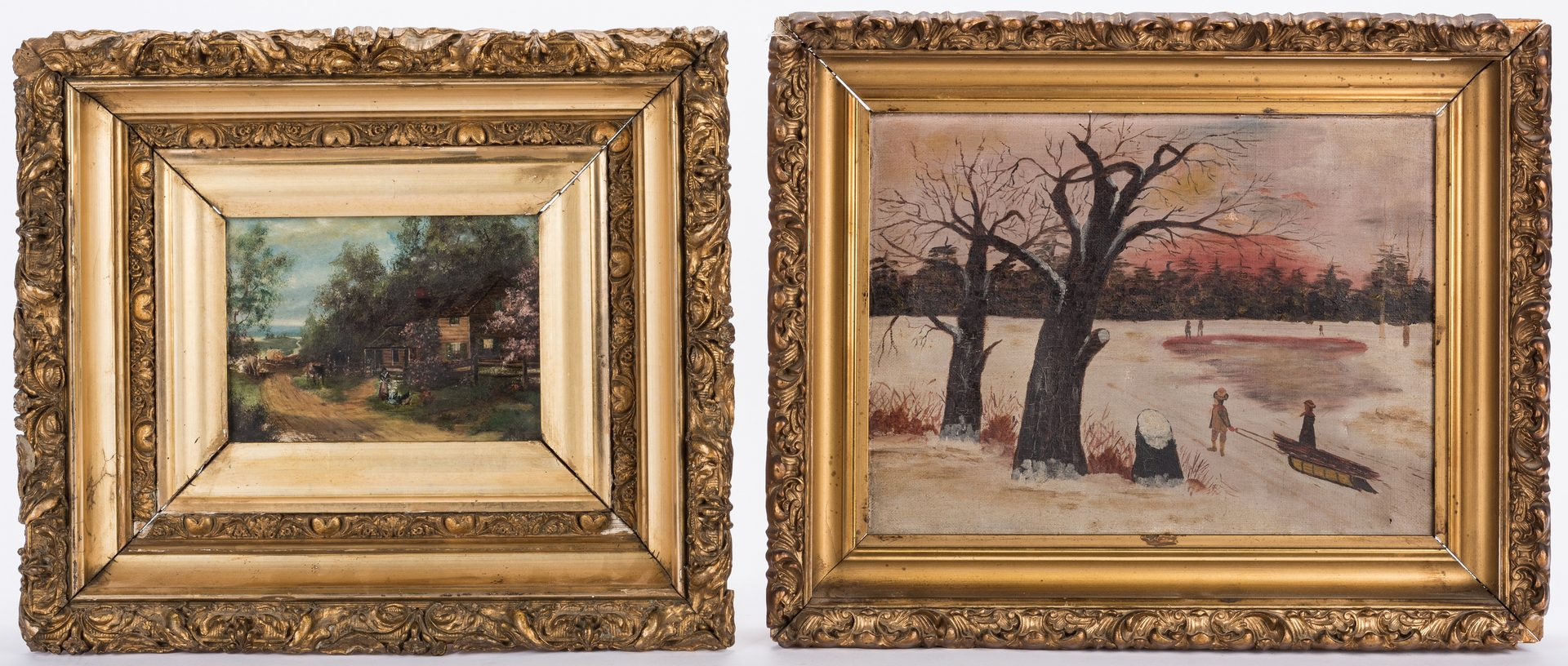 Lot 808: 3 small Landscapes in giltwood frames