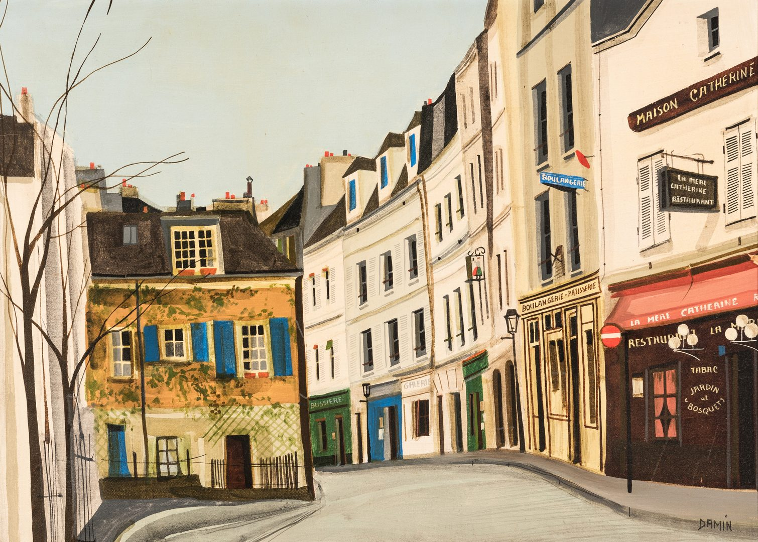 Lot 810: 2 Georges Damin French Street Scene Paintings