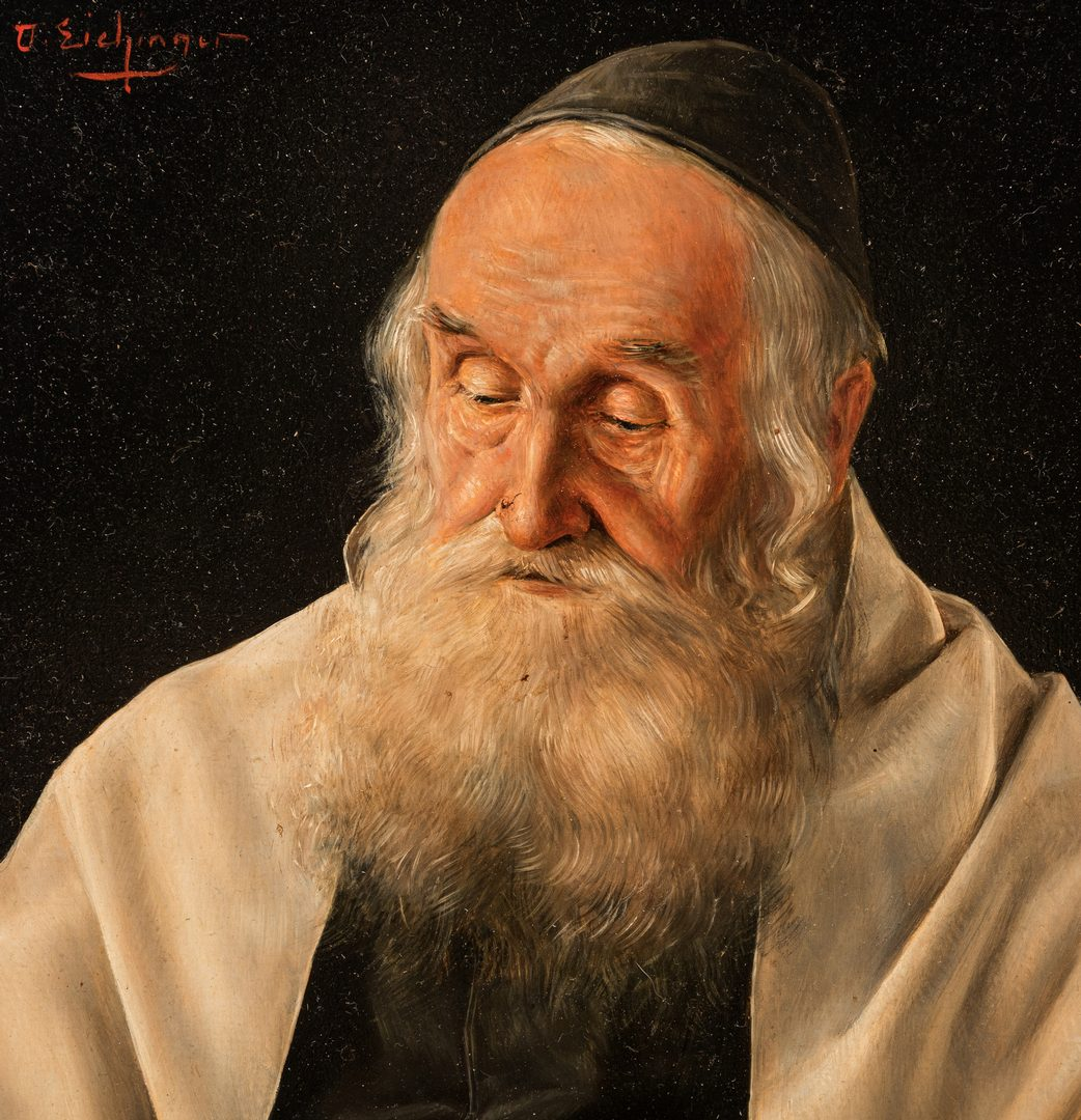 Lot 814: Otto Eichinger, O/B, Portrait of a Rabbi