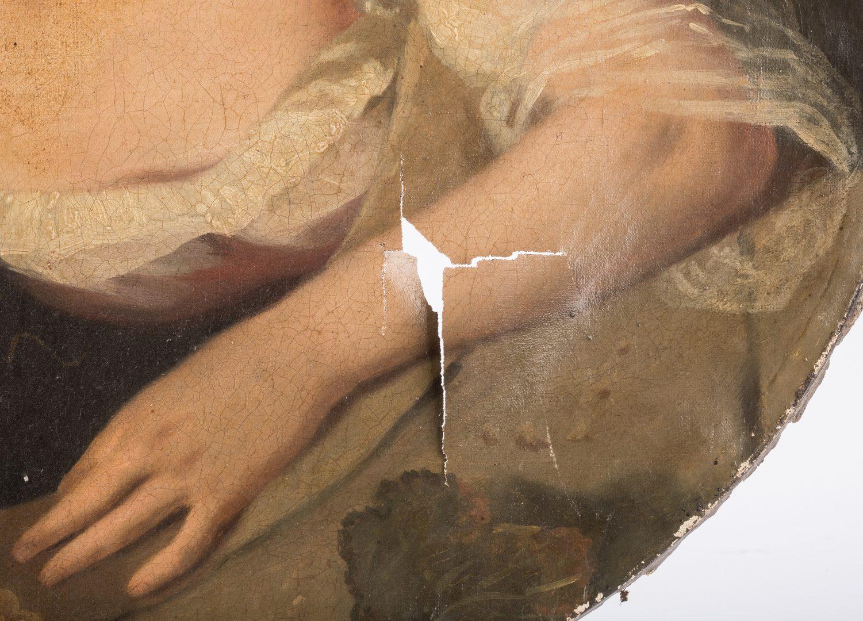 Lot 815: Trompe-l'oeil Painting, O/C, 2 Women in Window