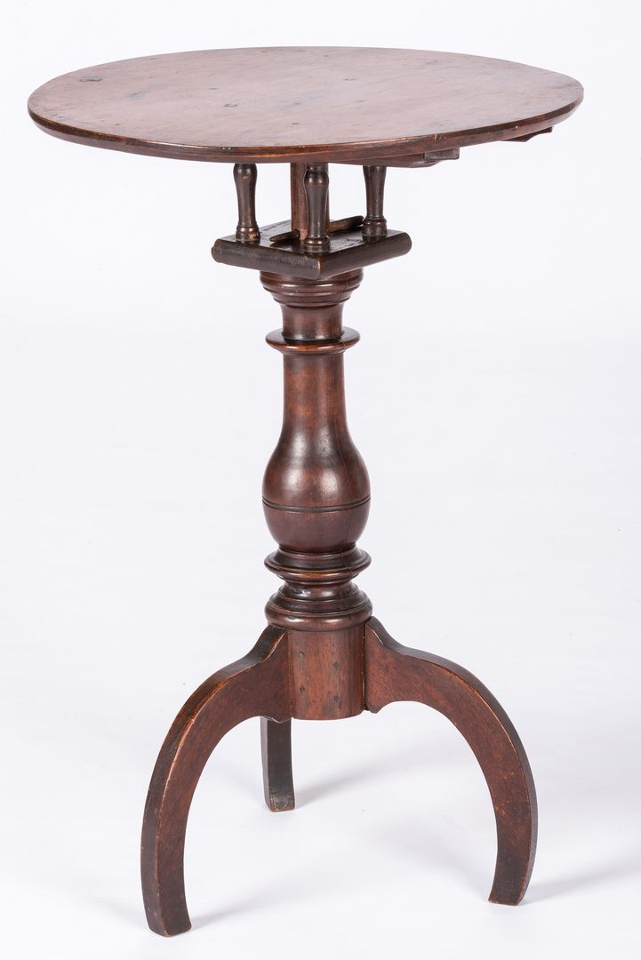 Lot 819: American Walnut Birdcage Candlestand
