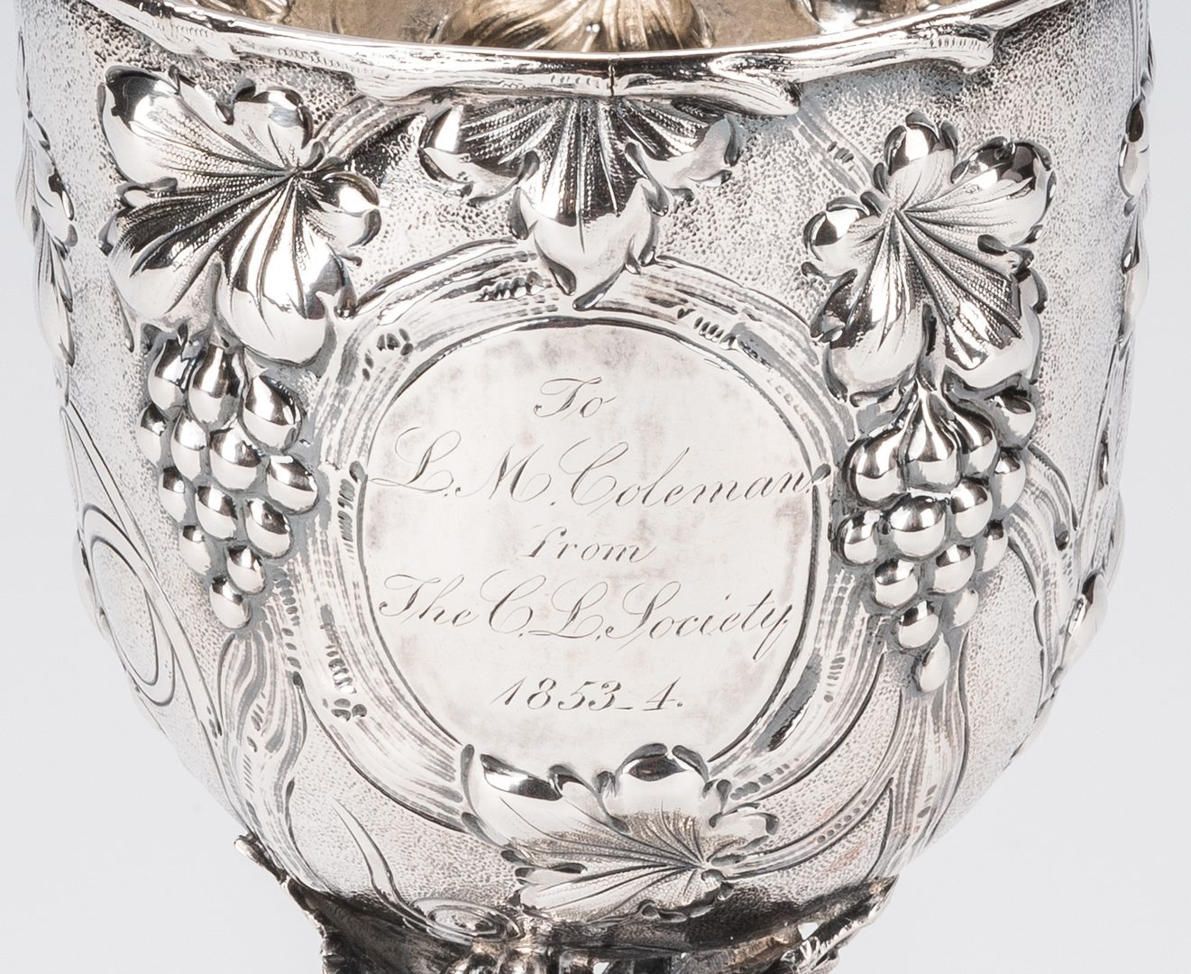 Lot 81: Mitchell & Tyler Coin Silver Presentation Goblet, Lewis Minor Coleman