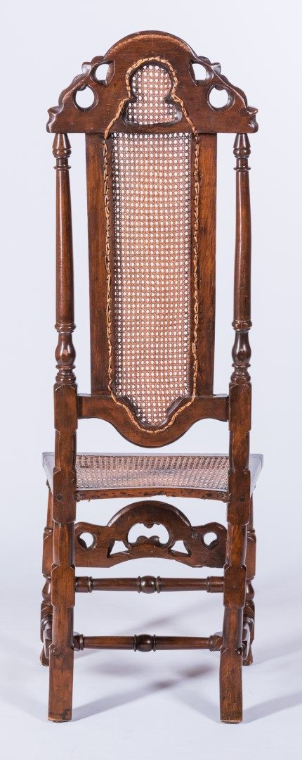 Lot 820: William & Mary Carved High Back Chair