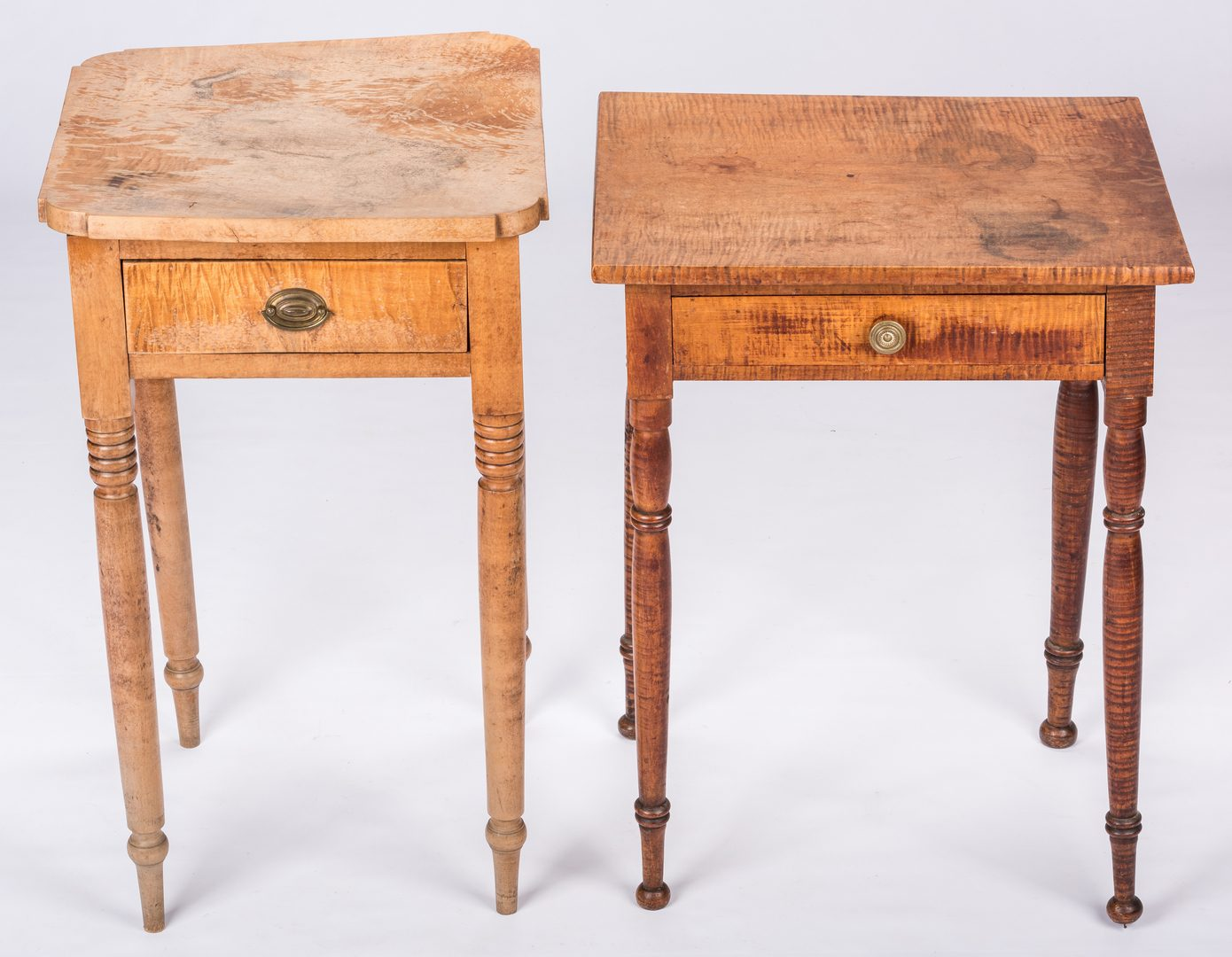 Lot 822: 2 American Sheraton Tiger Maple Stands