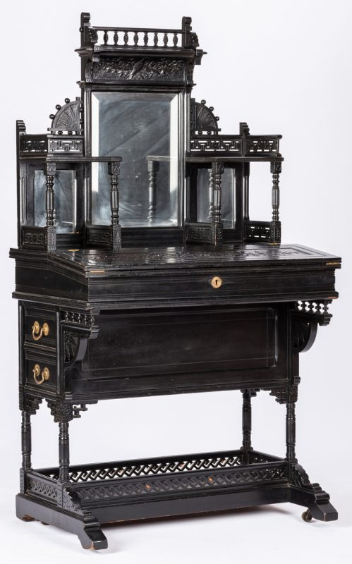 Lot 823: Aesthetic Movement Ebonized Lady's Desk