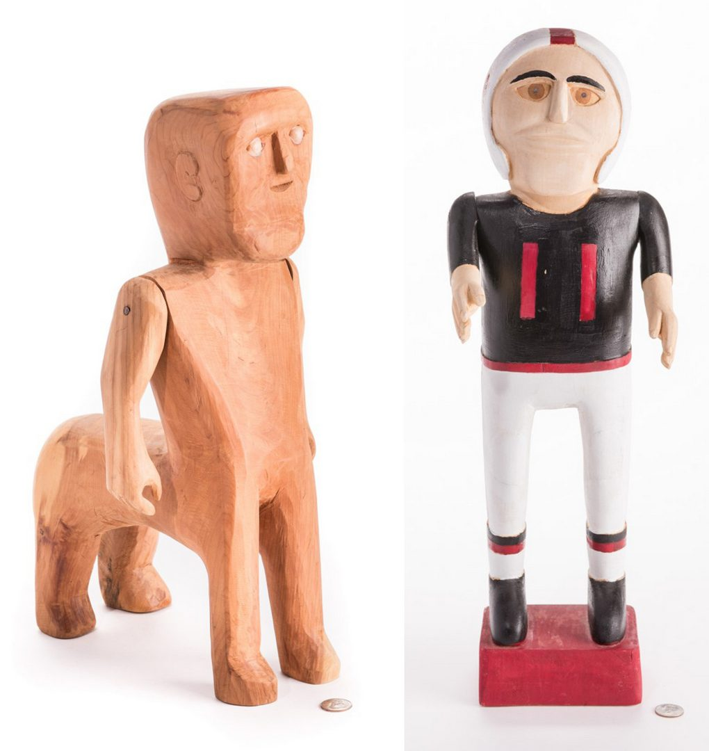 Lot 828: 2 Folk Art Carvings, inc. Webb & Gibson