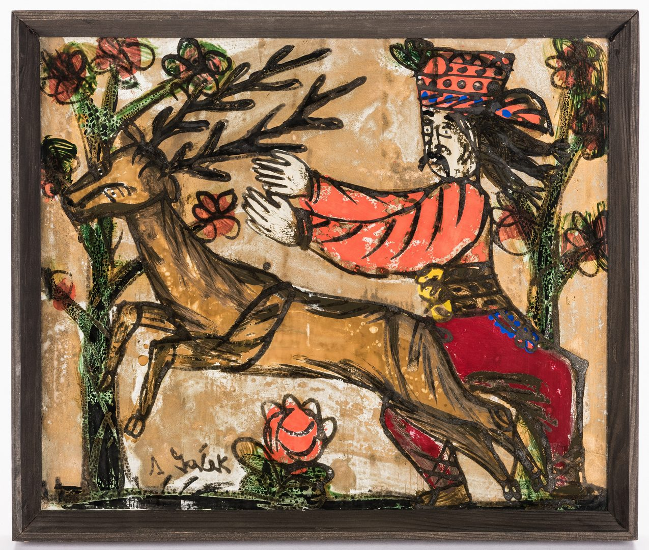 Lot 830: Andrzej Galek folk art painting, Man with Reindeer