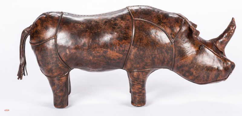 Lot 833: Abercrombie & Fitch Leather Rhino Footstool