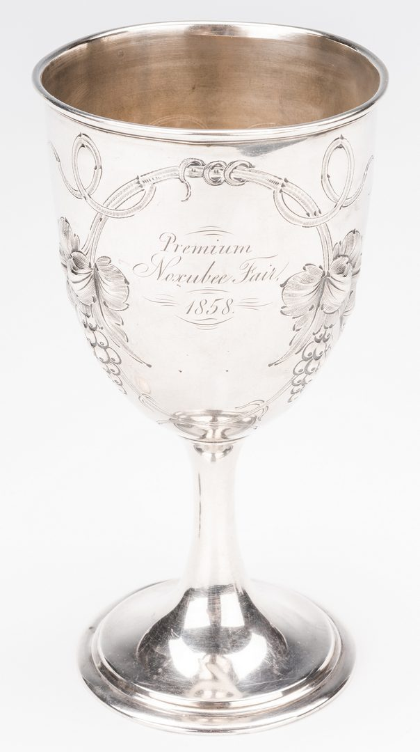 Lot 83: Missisippi Premium Coin Silver Cup, Noxubee Fair 1858
