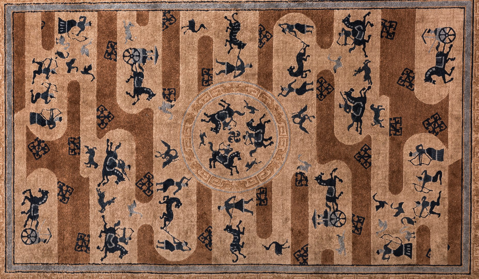 Lot 841: Chinese Silk Rug, Hunt Scene