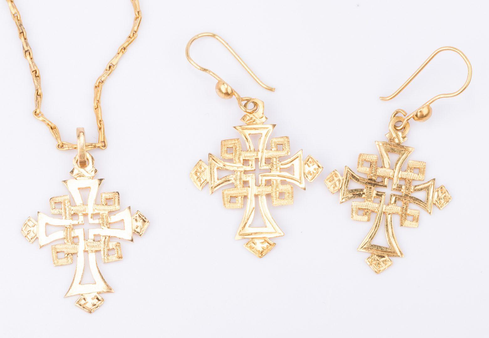 Lot 847: 18K Cross Jewelry 3 Piece Set
