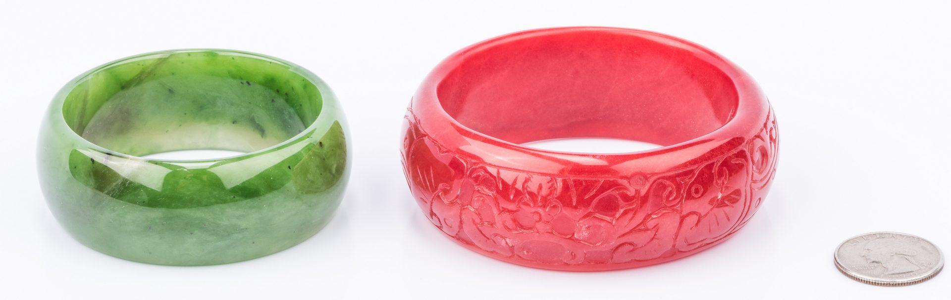 Lot 851: Carnelian and Jade Bangle Bracelets