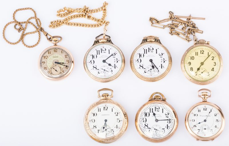 Lot 854: Group 6 Railway Pocket Watches plus 1 (7 total)