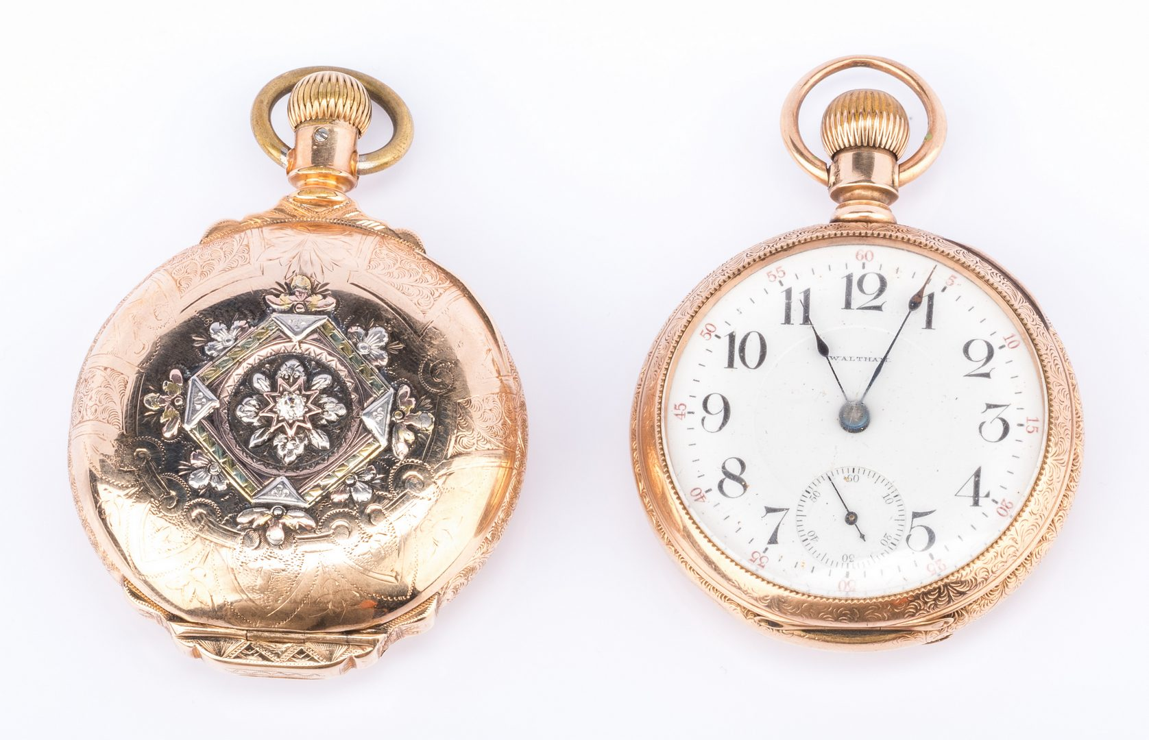 Lot 855: 2 Waltham watches incl 14K Railroad watch
