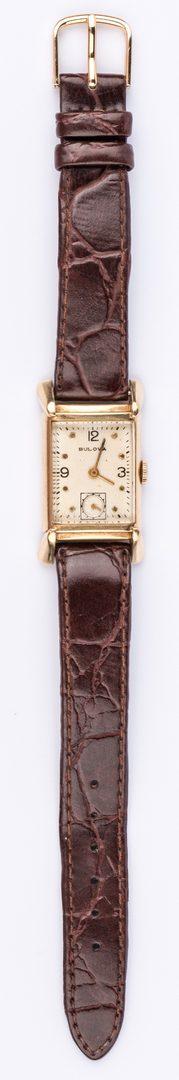 Lot 856: 14K Bulova Case Watch with leather strap