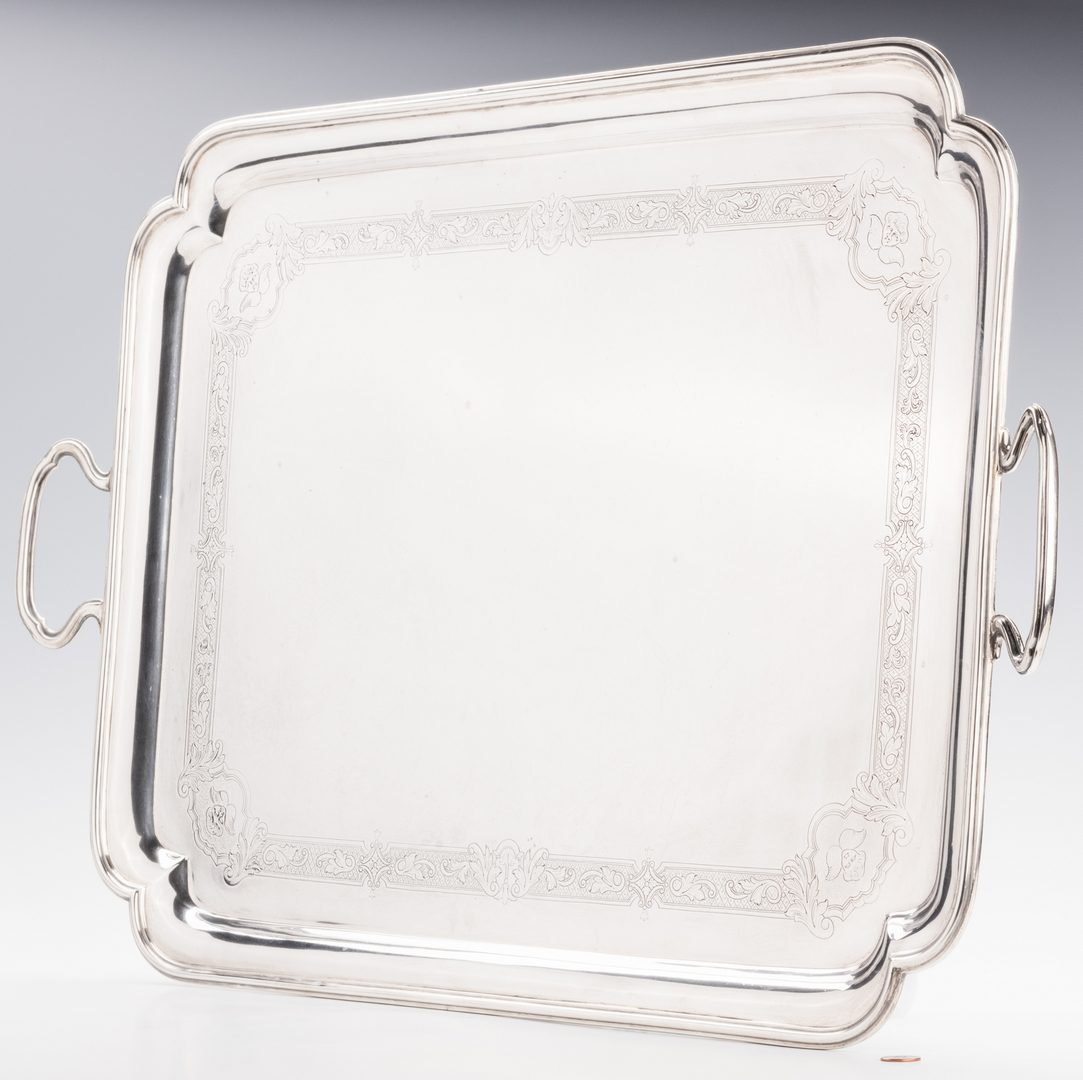 Lot 85: George VI Sterling Silver Tray, Crichton Bros.