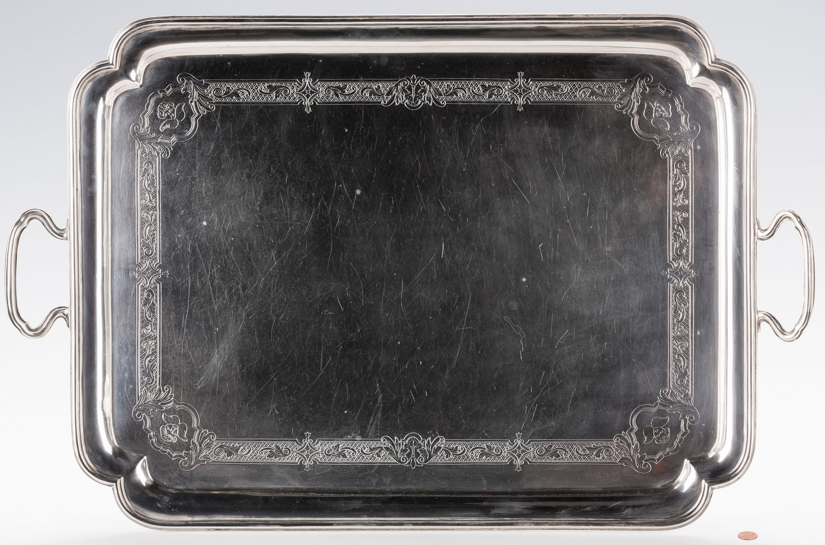 Lot 85: George VI Sterling Silver Tray, Crichton Bros.