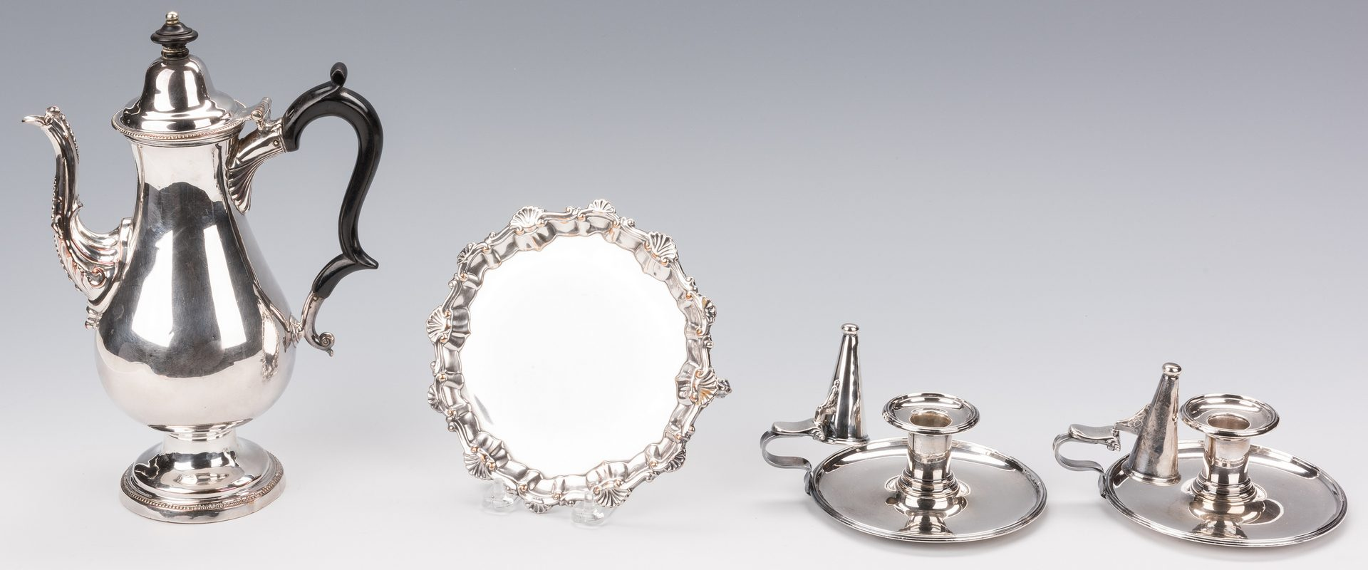 Lot 860: Old Sheffield, inc. Boulton Chambersticks, Coffee Pot and Small Salver