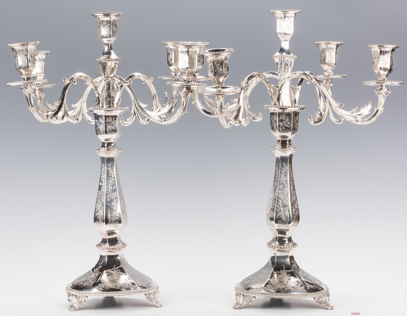 Lot 861: Pair of Sheffield Candelabra