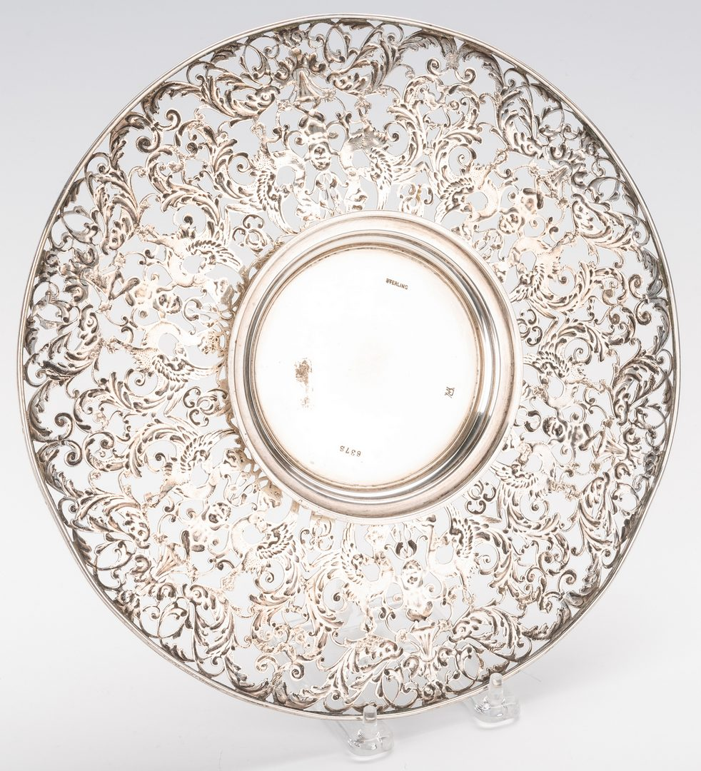 Lot 866: Sterling Centerpiece Dish plus 2 Sterling Rimmed Plates