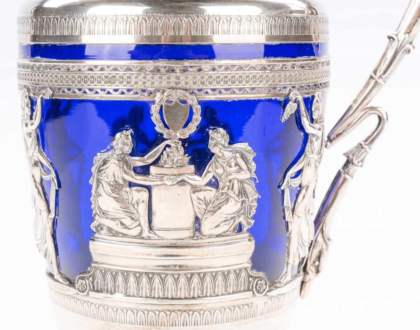 Lot 86: French silver and cobalt glass claret jug
