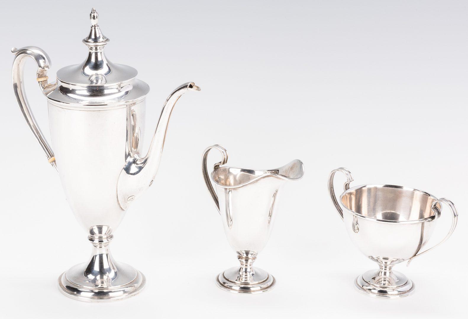"Lot 874: Sterling ""Bachelor"" Tea Set"