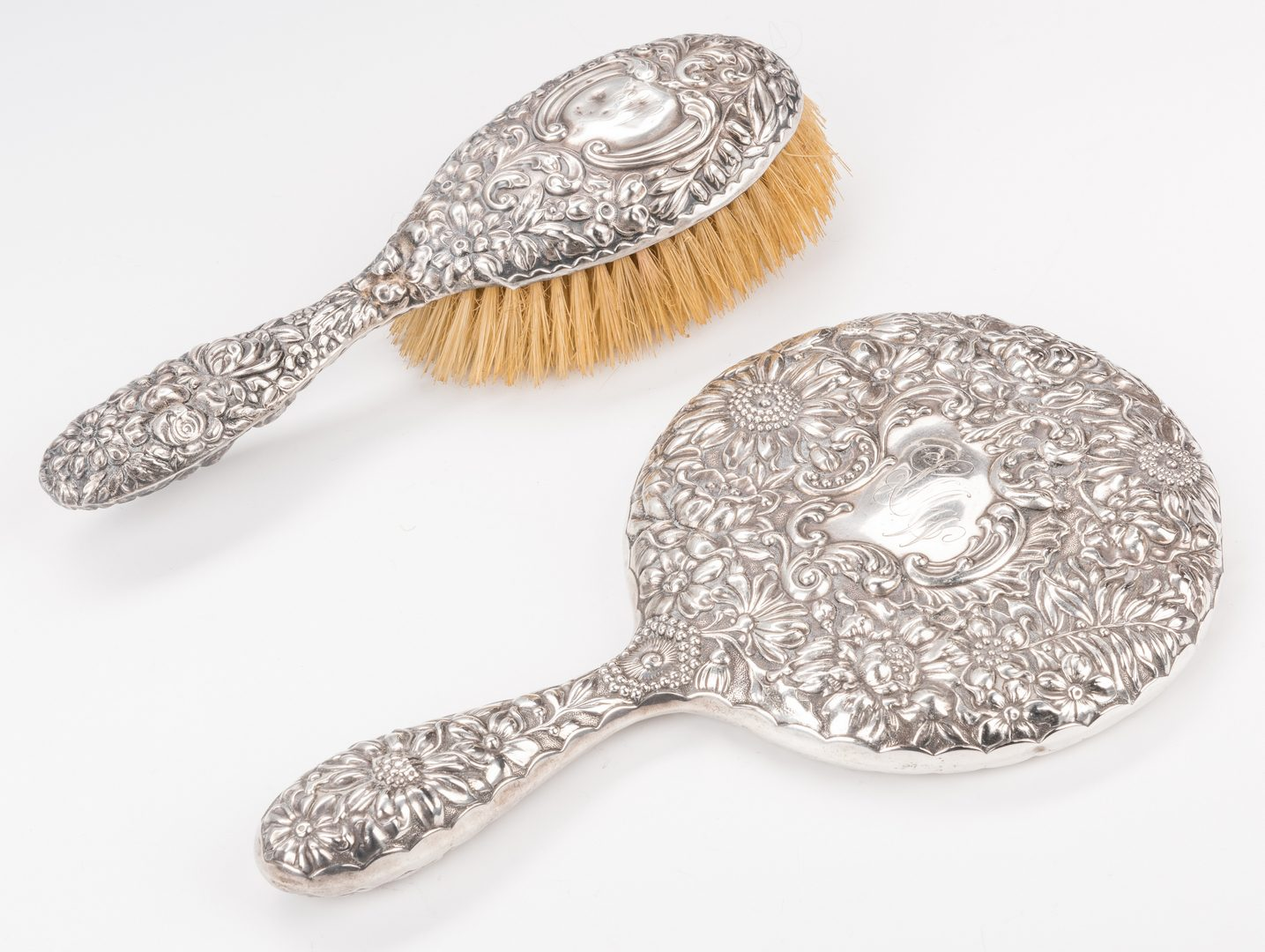 Lot 876: Sterling Dresser Mirror and Brushes