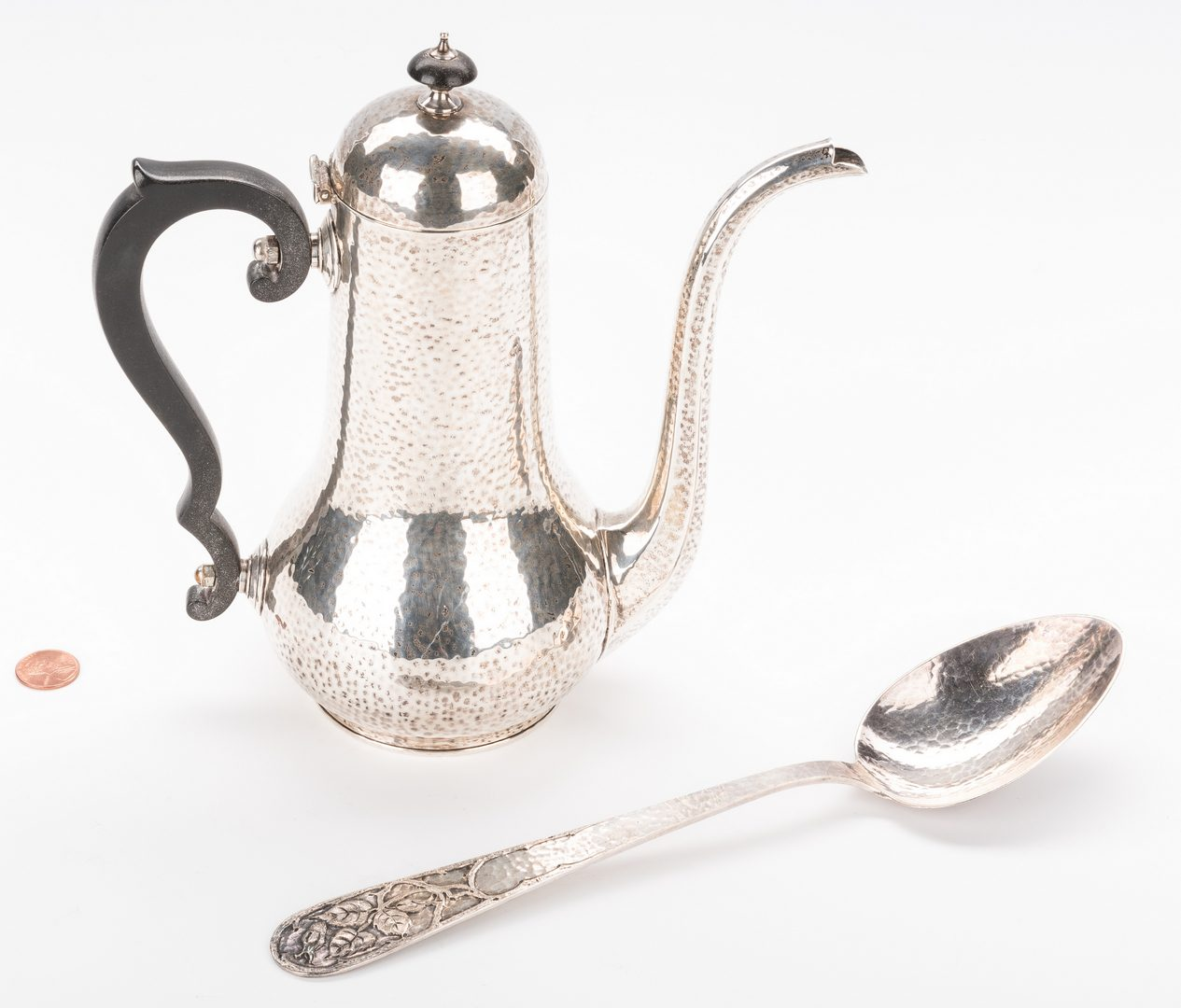 Lot 878: Hand Hammered Sterling Spoon; Choc Pot