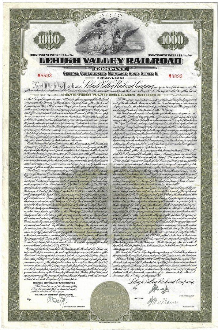 Lot 880: 127 Railroad Bonds, inc. Lehigh Valley