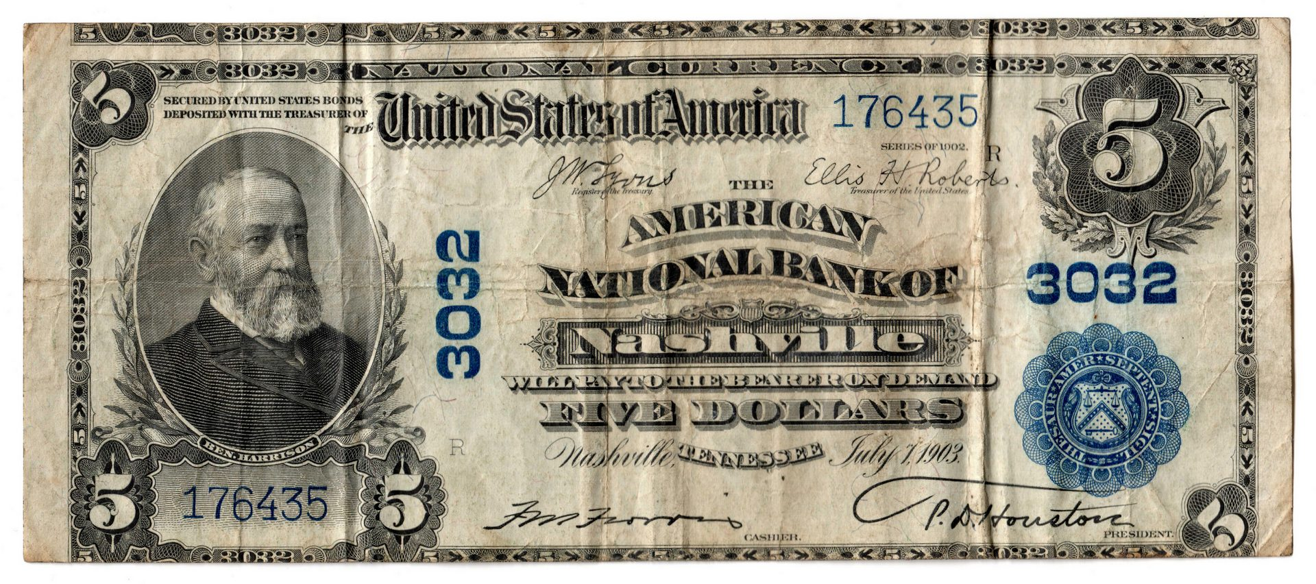 Lot 881: 1902 $5 American National Bank of Nashville