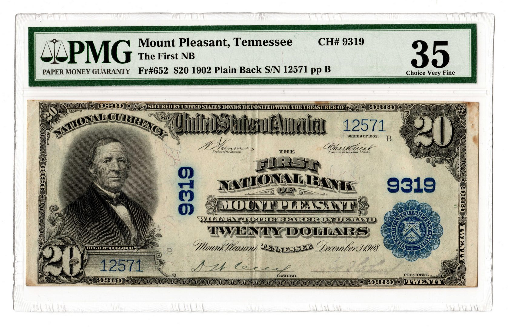 Lot 882: 1902 $20 First National Bank of Mt. Pleasant