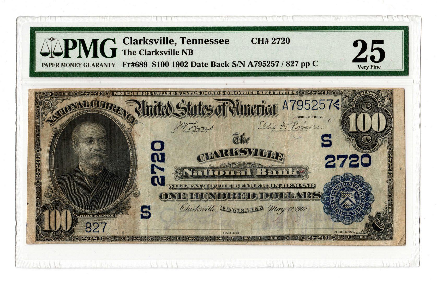 Lot 883: 1902 $100 Clarksville National Bank, TN National B