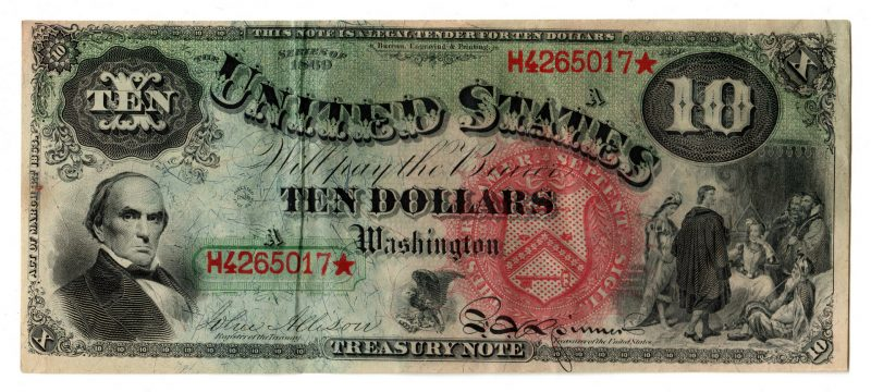 "Lot 885: 1869 U.S. $10 ""Rainbow Jackass"" Legal Tender"