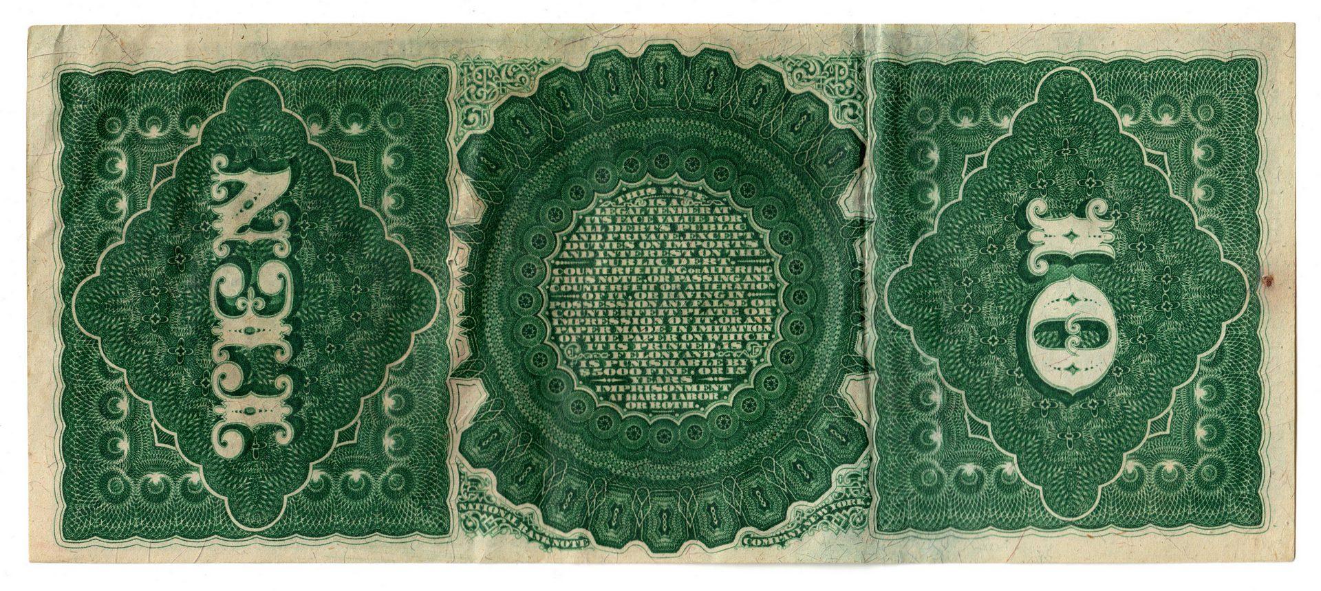 "Lot 885: 1869 U.S. $10 ""Rainbow Jackass"" Legal Tender"