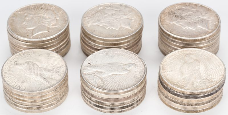 Lot 889: 39 U.S. Peace Silver Dollars (1922-1935)
